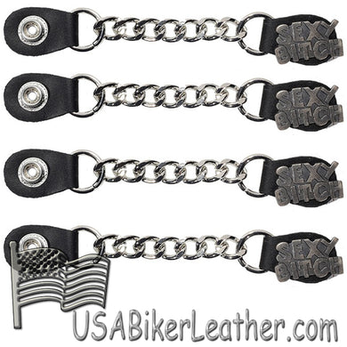 Set of Four Sexy B*tch Vest Extenders with Chrome Chain - SKU USA-AC1059-DL - USA Biker Leather