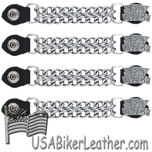 Set of Four Sexy B*tch Vest Extenders with Single Chrome Chain - SKU USA-AC1059-LL-DL