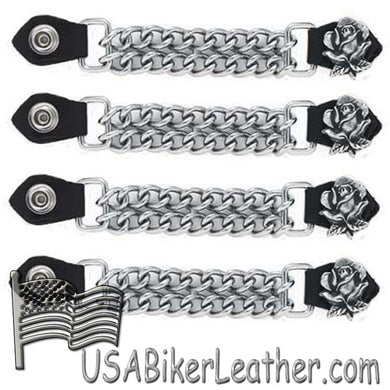 Set of Four Rose Vest Extenders with Chrome Chain - SKU USA-AC1060-DL