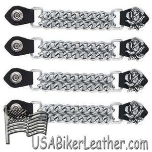 Set of Four Rose Vest Extenders with Chrome Chain - SKU USA-AC1060-DL - USA Biker Leather