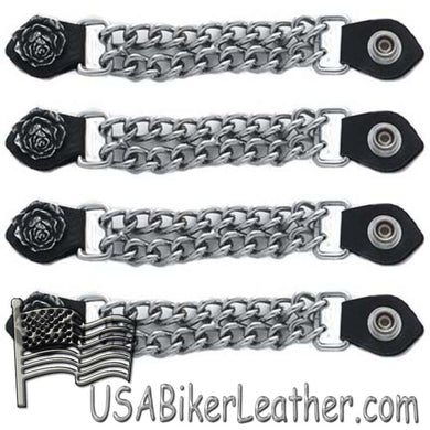 Set of Four Rose Vest Extenders with Chrome Chain - SKU USA-AC1061-DL - USA Biker Leather