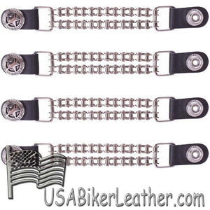 Set of Four Police Star Vest Extenders with Chrome Motorcycle Chain - SKU USA-AC1063-BC-DL