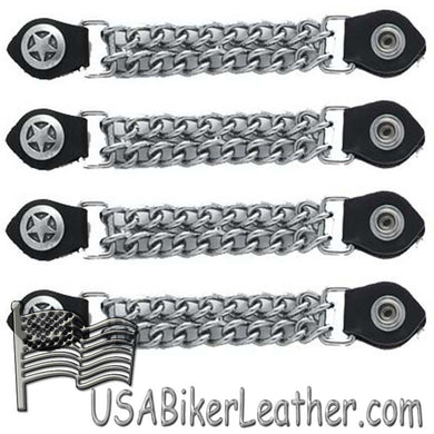 Set of Four Police Star Vest Extenders with Chrome Chain - SKU USA-AC1063-DL - USA Biker Leather