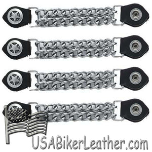 Set of Four Police Star Vest Extenders with Chrome Chain - SKU USA-AC1063-DL