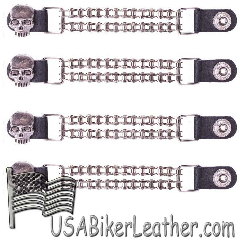 Set of Four Skull Vest Extenders with Chrome Motorcycle Chain - SKU USA-AC1064-BC-DL