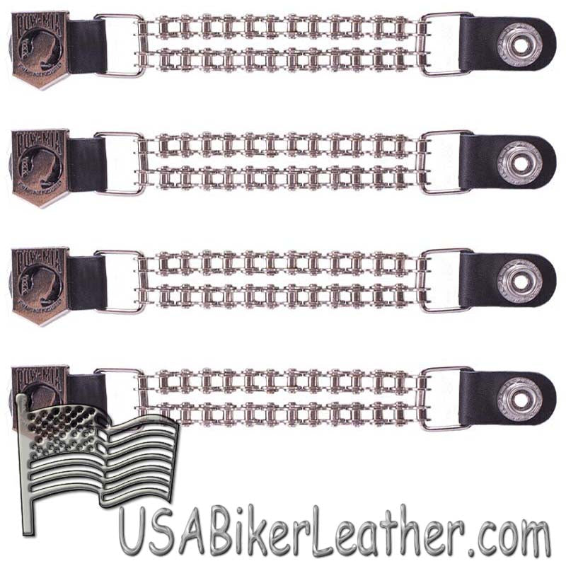 Set of Four POW MIA Vest Extenders with Chrome Motorcycle Chain - SKU USA-AC1065-BC-DL
