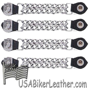 Set of Four POW MIA Vest Extenders with Chrome Chain - SKU USA-AC1065-DL - USA Biker Leather