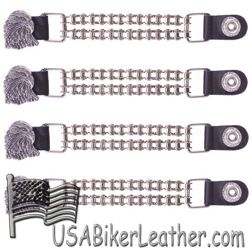 Set of Four Eagle Vest Extenders with Chrome Motorcycle Chain - SKU USA-AC1066-BC-DL