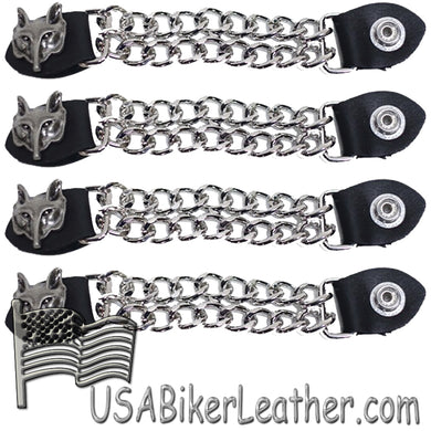 Set of Four Wolf Head Vest Extenders with Chrome Chain - SKU USA-AC1067-DL - USA Biker Leather