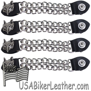 Set of Four Wolf Head Vest Extenders with Chrome Chain - SKU USA-AC1067-DL