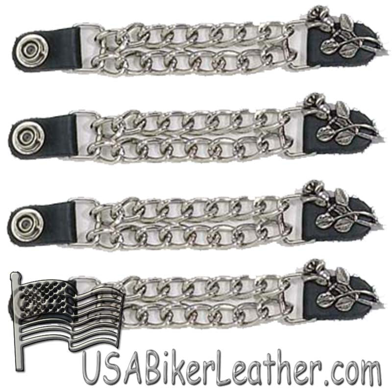 Set of Four Rose and Stem Vest Extenders with Chrome Chain - SKU USA-AC1070-DL