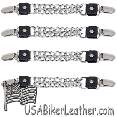 Set of Four Plain Clip On Vest Extenders with Chrome Chain -SKU USA-AC1072-DL - USA Biker Leather