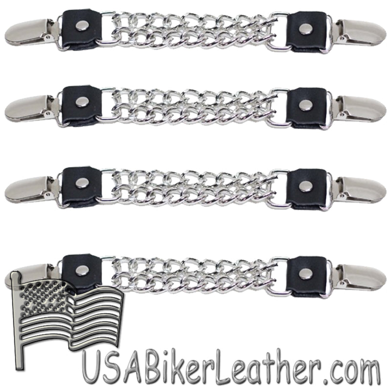 Set of Four Plain Clip On Vest Extenders with Chrome Chain -SKU USA-AC1072-DL