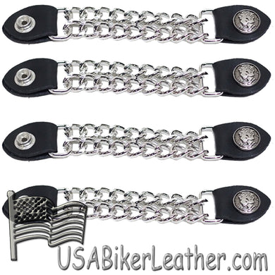 Set of Four Lady Liberty Silver Dime Vest Extenders with Chrome Chain - SKU USA-AC1073-DL - USA Biker Leather