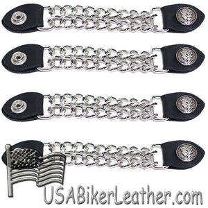 Set of Four Lady Liberty Silver Dime Vest Extenders with Chrome Chain - SKU USA-AC1073-DL