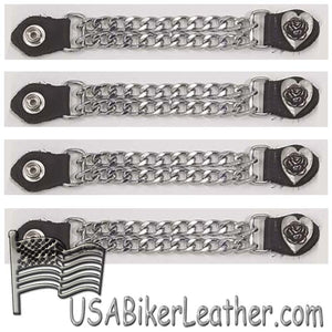 Set of Four Rose In Heart Vest Extenders with Chrome Chain - SKU USA-AC1075-DL
