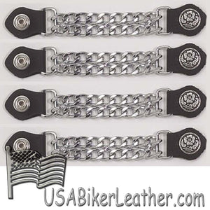 Set of Four Flower and Petals Vest Extenders with Chrome Chain - SKU USA-AC1076-DL