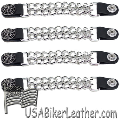 Set of Four Spider On Web Vest Extenders with Chrome Chain - SKU USA-AC1077-DL