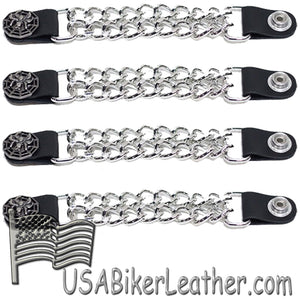Set of Four Spider On Web Vest Extenders with Chrome Chain - SKU USA-AC1077-DL - USA Biker Leather