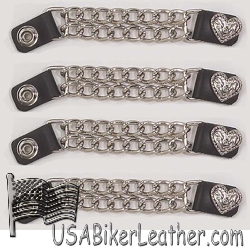 Set of Four Fancy Heart Vest Extenders with Chrome Chain - SKU USA-AC1078-DL