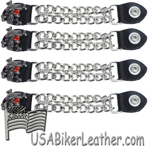Set of Four Skull Crossbones Red Eye Vest Extenders with Chrome Chain - SKU USA-AC1080-DL - USA Biker Leather