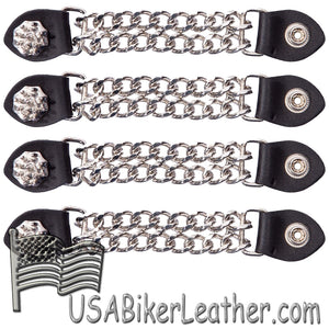 Set of Four Spike Design Vest Extenders with Chrome Chain - SKU USA-AC1081-DL - USA Biker Leather