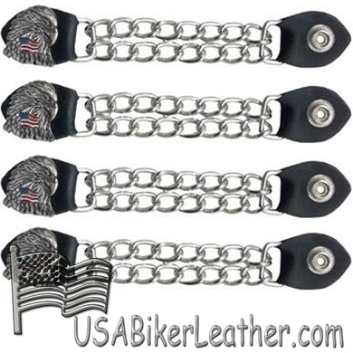 Set of Four Eagle With USA Flag Vest Extenders with Chrome Chain -SKU USA-AC1083-DL - USA Biker Leather
