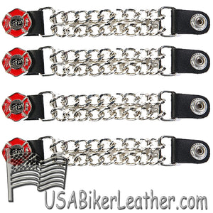 Set of Four Fire Department Vest Extenders with Chrome Chain - SKU USA-AC1097-FD-DL - USA Biker Leather