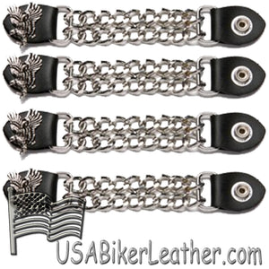 Set of Four Soaring Eagle Vest Extenders with Chrome Chain - SKU USA-AC1098-E-DL - USA Biker Leather