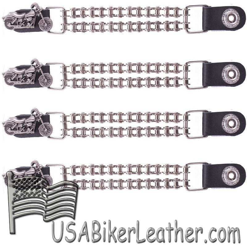 Set of Four Motorcycle Vest Extenders with Chrome Motorcycle Chain - SKU USA-AC1100-BC-DL