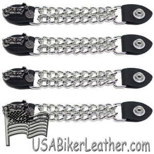 Set of Four Motorcycle Vest Extenders with Chrome Chain - SKU USA-AC1100-DL - USA Biker Leather
