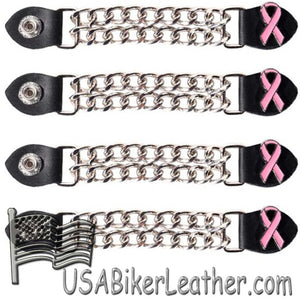 Set of Four Pink Ribbon Cancer Awareness Vest Extenders with Chrome Chain - SKU USA-AC1101-DL