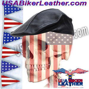 Mens Leather Driving Cap / SKU USA-AC25-DL - USA Biker Leather - 2