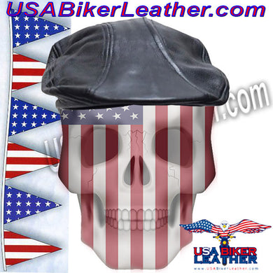 Mens Leather Driving Cap / SKU USA-AC25-DL - USA Biker Leather - 1
