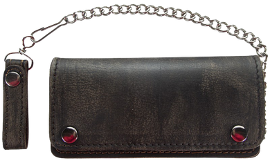 Bifold Distressed Brown Leather Chain Wallet / SKU GRL-AC51-12-DL
