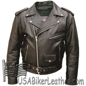 Mens Classic Style Leather Motorcycle Jacket - Size 28-68 - SKU USA-AL2001-AL