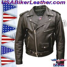 Mens Leather Biker Jacket with American Flag on Back / SKU USA-AL2018-AL - USA Biker Leather - 2