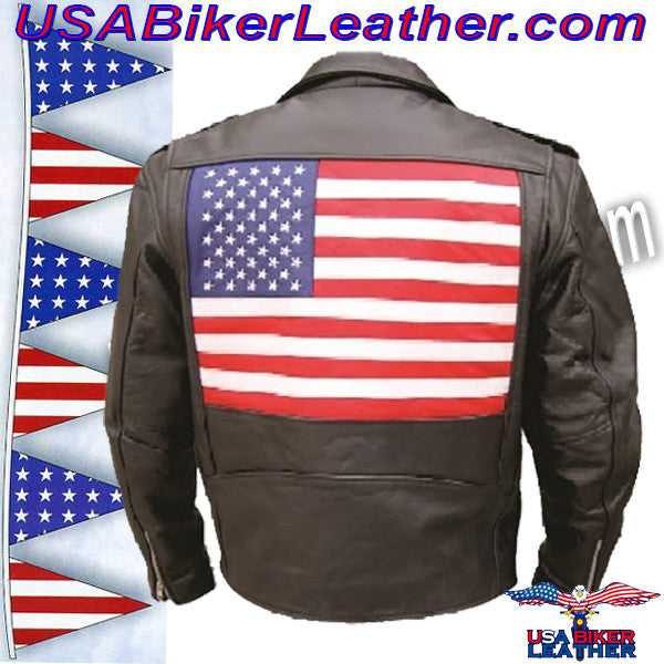 Mens Leather Biker Jacket with American Flag on Back / SKU USA-AL2018-AL - USA Biker Leather - 1