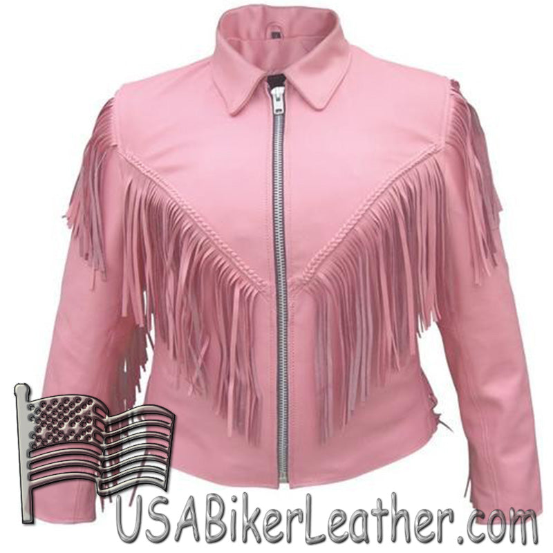 Ladies Biker Pink Leather Jacket with Fringe - SKU USA-AL2121-AL