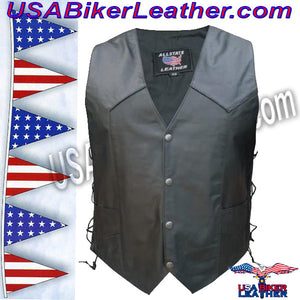 American Flag Leather Biker Vest with Side Laces / SKU USA-AL2218-AL - USA Biker Leather - 2