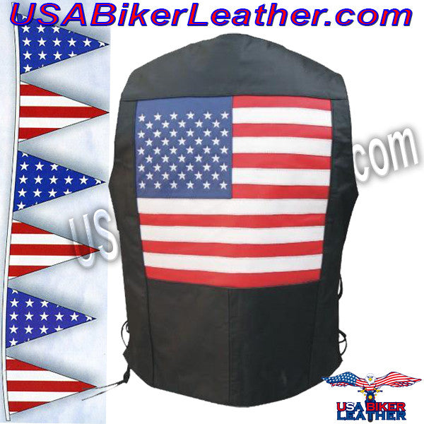American Flag Leather Biker Vest with Side Laces / SKU USA-AL2218-AL - USA Biker Leather - 1