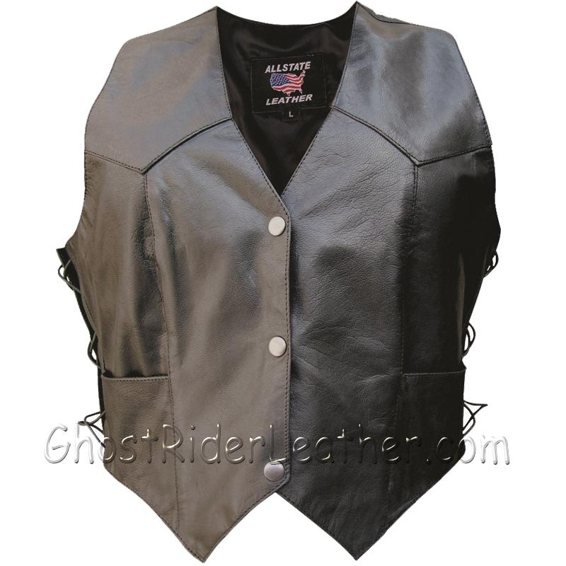 Classic Style Ladies Leather Vest with Side Laces - SKU GRL-AL2301-AL - USA Biker Leather