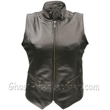 Ladies Leather Vest with Zipper Front and Zipper Pockets - SKU GRL-AL2304-AL