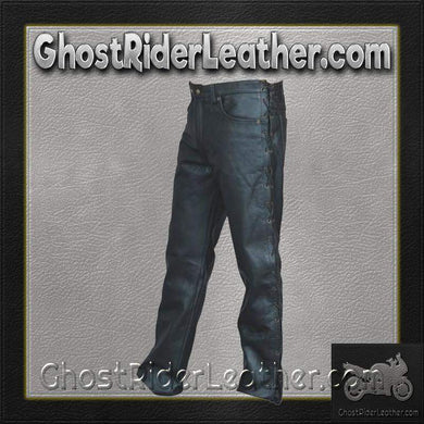 Mens 5 Pocket Leather Pants with Side Laces/ SKU AL2502-AL