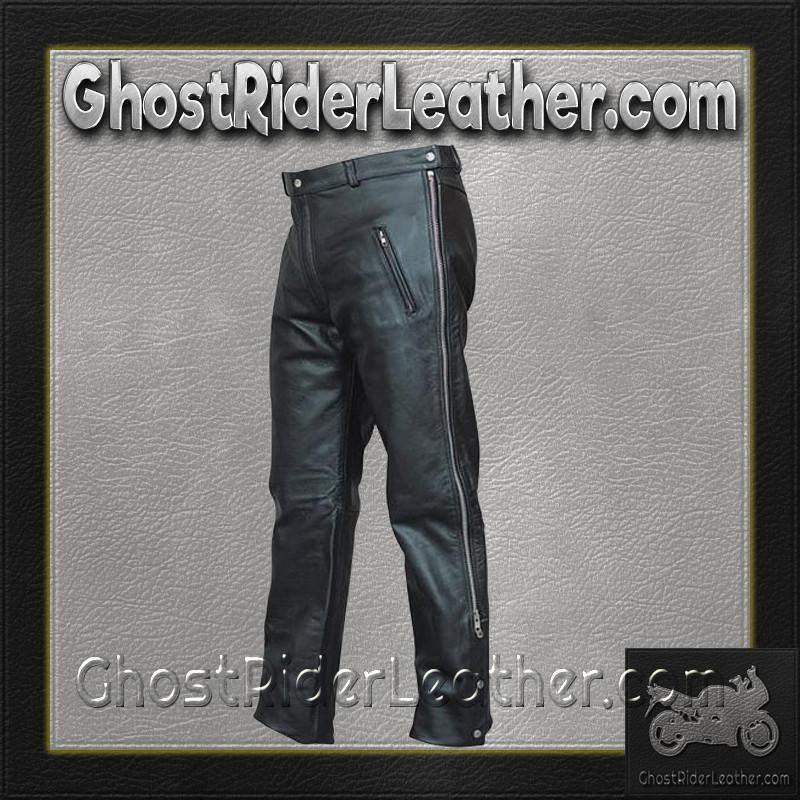 Mens Leather Chap Pants with Zipper Pockets / SKU AL2510-AL