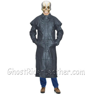 Mens Black Buffalo Leather Duster Coat - SKU GRL-AL2600-AL