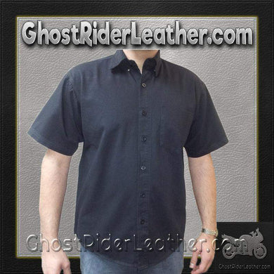 Mens Cotton Twill Mechanic Shirt With Snap Down Collar / SKU GRL-AL2910-AL