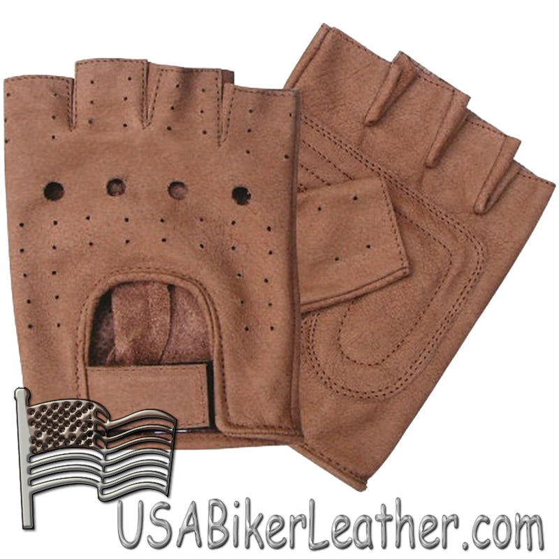 Brown Leather Fingerless Motorcycle Rider Gloves - SKU USA-AL3010-AL