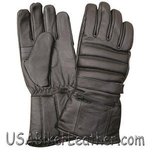 Full Finger Leather Riding Gloves with Rain Cover and Zipper Pocket - SKU USA-AL3051-AL - USA Biker Leather