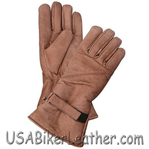 Full Finger Brown Leather Riding Gloves  - Gauntlet Style - SKU USA-AL3053-AL